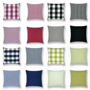 "18"" 4 Colors Plaid Checks Solid Sofa Car Pillow Case Cushion Cover Home Decor"