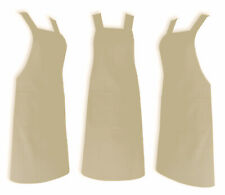 Beige Chef Apron Wtih Pocket, 100% Cotton Catering Cooking Professional Quality