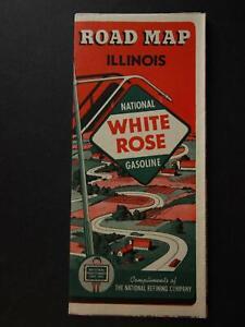 1940 WHITE ROSE GASOLINE TRAVEL MAP of ILLINOIS~