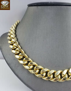 "Genuine 10k Yellow Gold Miami Cuban Chain Necklace 12mm 18"" Box Clasp men Choker"