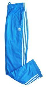 """Men's ADIDAS Premium VIBRANT BLUE 3 Stripe Tracksuit Bottoms Size L W34-36"""" L32"""""""