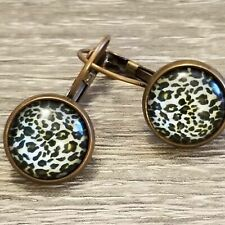 Leopard 12mm Cabochon Drop Earring