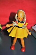 Vintage petite poupée ancienne doll en bois articulée années 50-60-Ht 19cm