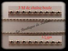 3 M DE CHAINE BOULE METAL ARGENTE Ø 1,5 mm - CREATION BIJOUX PERLES