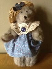 """Country Style 8"""" Posable Bear - Miss Buttons"""