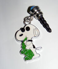 snoopy with green saxophone phone charm plug anti-dust 3.5mm iphone 4 4s & more