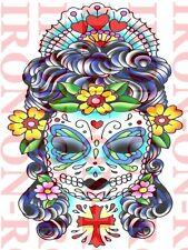 COOL MEXICAN DEATH SKULL A4 T SHIRT TRANSFER KANDI SUGAR SKULL IRON ON TRANSFER