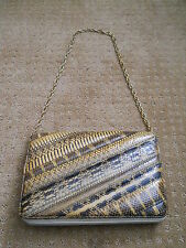 "VINTAGE MARLA SNAKESKIN HANDBAG WITH GOLD CHAIN STRAP 6 1/4"" TALL 9 1/4"" WIDE"