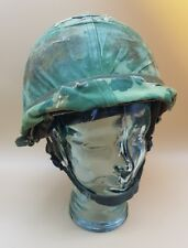 Post WW2 US Vietnam M1C Paratroopers Airborne Helmet + Liner & Dog Tag MUST SEE!
