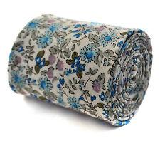 Frederick Thomas Ivory Crema con Design Floreale Blu Cravatta COTONE ft2045