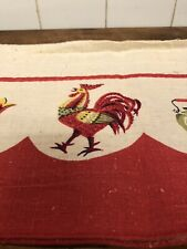 Vintage Red Rooster Curtain Valance Feed Sack Cloth?Cottage Farmhouse Kitchen