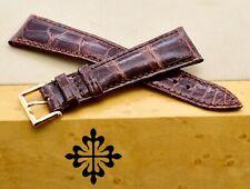 Patek Philippe Padded Gabardine Brown Alligator With18k Rose Gold Buckle 21x16mm