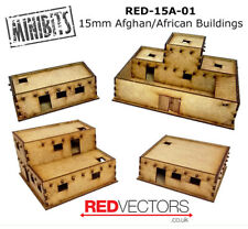 RED-15A-01 - 15mm Wargames - Afghan/African Buildings, Set A (4 buildings)