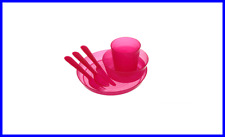 NEW 1set RED Unbreakable and Reusable Dinnerware Utensils Kids Adults- BPA Free