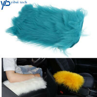 Blue Furry Center Console Armrest Cushion Trim Pad Cover Universal For Women
