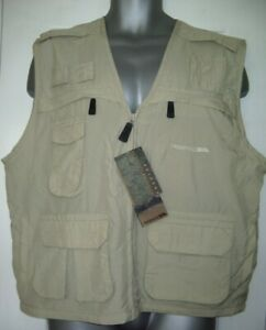 "Trespass Gilet Beige Lightweight Front Zip Many Pockets 48"" & 50"" Chest Bullet"