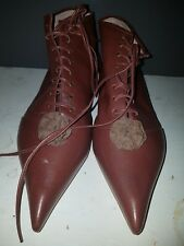 VIVIENNE WESTWOOD Women's Chocolate Brown Leather Lace up Rosette Boots uk 5eu38