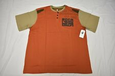 $40 NWT Mens Rocawear Regiment Graphic Henley Shirt Tee Orange Urban 4XB 4X N409