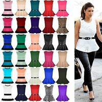 New Womens Plus Size Peplum Top Ladies Sleeveless Belted Frill Skater Mini Dress