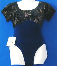 NWT Blu & Blk VELVET w.GOLD TRIM Dance Wear & Gymnastics LEOTARD by SHARENE Sz S