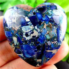Charming Blue Sea Sediment Jasper & Pyrite Heart Pendant Bead A9327