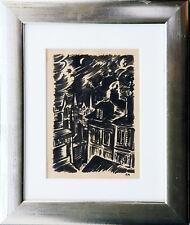 Frans Masereel 1889-1972: Sternennacht Stadt Tuschepinsel ca. 1920er Jahre