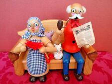 echt Erzgebirge HODREWA Legler, Räuchermann Oma + Opa auf dem Sofa 19,5 cm, alt