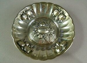 """800 (80% Silver) 3 3/4"""" Repousse Bowl for Nuts, Mints, or Candy, FREE SHIPPING"""