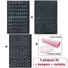 KIT STAMPING : 3 Plaque XL + Tampon Double + Raclette + 7 VERNIS + KDO! MANUCURE