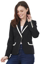 Ladies Smart Fitted Casual Jacket Black Single Breasted Lined Blazer