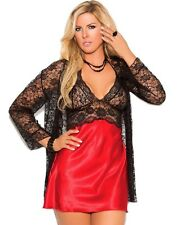Babydoll Robe Lingerie Set 2X Women Plus Black Lace Red Satin Panty Long Sleeve