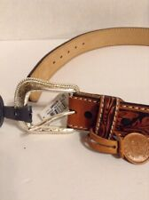 Tony Lama Mens Western Leather Brown Belt with Silver Buckle Size 32
