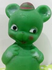 Vintage GREEN TEDDY BEAR Rubber Squeak Squeaky~Baby Toy Combex~England~Free Ship