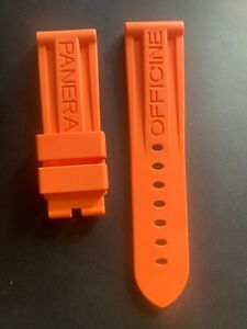 24mm  Orange  Panerai Rubber Strap for Tang Buckle