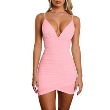 Womens Summer Deep V-Neck Bodycon Mini Slip Dress Beach Party Cocktail Sundrss