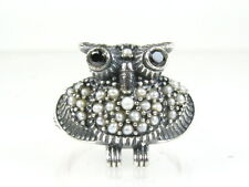 Unique Blue Sapphire and Seed Pearl Victorian Deco Sterling OWL Ring W03