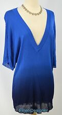 Chicos Sweater long top loose knit top S/S Blue ombre slinky top Chico 2 M L NEW