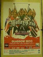 Def Leppard + Motley Crue, Steel Panther - Glasgow dec.2011 concert gig poster