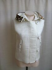 ETCETERA ECCOCI CREAM QUILTED FUR HOODED VEST JACKET size 14 NEW $385