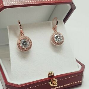 Rose gold finish created diamond round cut droplet earrings free postage giftbox