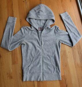 JUICY COUTURE gray velvet full zipper jacket sweatshirt hoodie LOVE (S)
