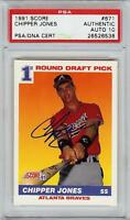 Super Rare 1991 Score #671 Chipper Jones Autograph Rookie RC Card PSA / DNA 10