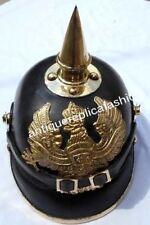 Pickelhaube Helmet LEATHER Helmet Brass Spiked German WWI OfficerLeather Helmet