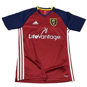 Adidas Real Salt Lake Soccer Jersey Size Small S Red Blue Shirt Dry Fit Tee Mens
