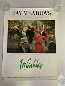 Bay Meadows The Sporting Art of Thoroughbred Racing Poster Frank Ashley 1982
