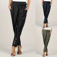 Mode Femme Pantalon Taille elastique Ceinture Poche Couleur Unie Grande Taille