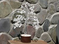 Clear Quartz Crystal Bonsai Gemstone Tree - On wooden base