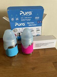 Pura 3 oz & 5 oz / Stainless Steel Infant & Toddler Bottle Starter Set / NEW