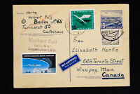 Germany Stamped Postcard to Canada VF Berlin Flight Label