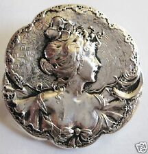 ART NOUVEAU STYLE SILVER LADY PERIWINKLE BROOCH / PIN  NEW